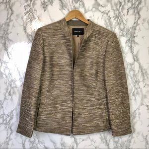 Lafayette 148 Gold Metallic Wool  Blazer Jacket